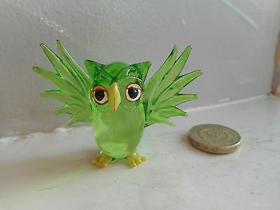 Owl - Glass - Cute And Collectable  Miniature Bright Green Flying Owl