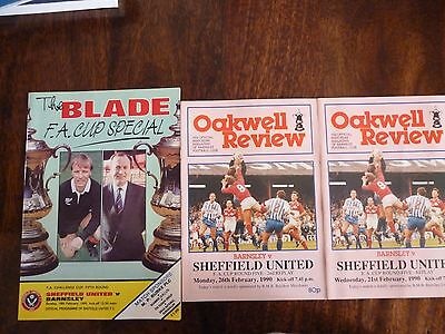 3 Sheffield United vs Barnsley FA Cup 5th Round programmes 1990 includes replays