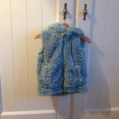 Mini boden fluffy Gilet turquoise hooded  18-24 months