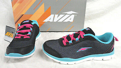 Avia Diversion Youth Girls Black/Turq. Athletic Shoes, Size 2,  New Free Ship