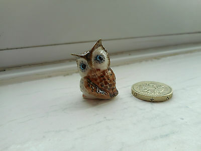 Owl - Pottery - Cute & Collectable Miniature Round, Plump Light Brown Owl