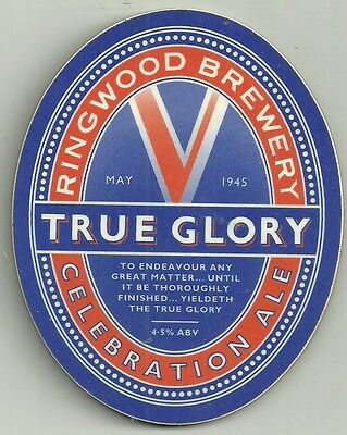 """Ringwood Brewery used pump clip """"TRUE GLORY"""" thick formica"""