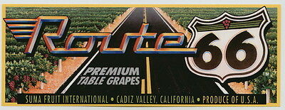 ROUTE 66 Vintage California Fruit Crate Label grapes, Highway, AN ORIGINAL LABEL
