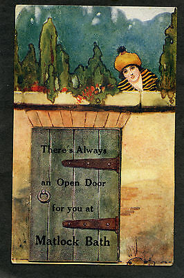 "novelty 'Pull-Out' card ""Open Door"" at Matlock Bath (all views intact)"