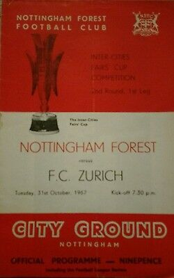 Nottingham Forest v FC Zurich Fairs Cup season 1967-1968