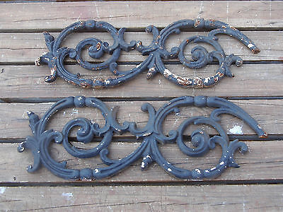 PAIR OF Vintage Cast Iron Architectural Salvage Ornate Gate Pieces Garden  #3