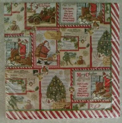 "20 ct Paper Party Lunch Napkins 13"" ~ Vintage Christmas Santa Trees Candy Cane"