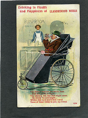 "novelty  'Pull-Out' card ""Wheelchair ?"" at LLANDRINDODD WELLS, all views intact"