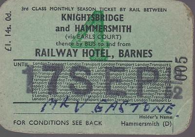 London Underground Railway & Bus SEASON Ticket RAILWAY HOTEL BARNES 005