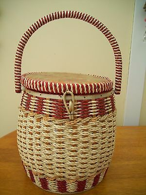 Vintage Woven  seagrass bucket shaped Sewing Basket and Contents