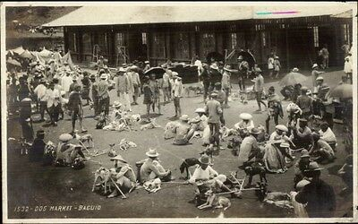 Baguio Philippines Dog Market c1910 Real Photo Postcard #1