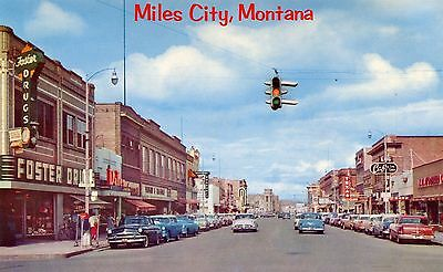 MT MILES CITY / MAIN STREET FROM SEVENTH LOOKING EAST / 1950s