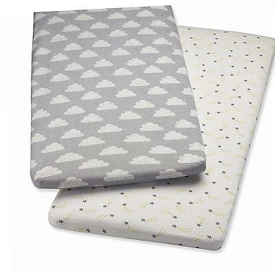 Snuz Crib Fitted Sheets - Cloud Nine Print (Fits SnuzPod and Chicco Next2Me)