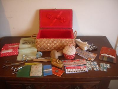 Vintage Woven Raffia Sewing Basket Containing A Plethora Of Vintage Sewing Items