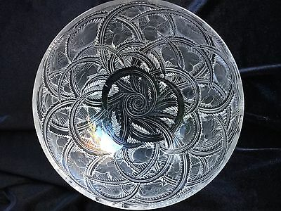 Vintage Lalique Crystal Pinsons Bowl. Etched signature. Finches.Clear & Frosted