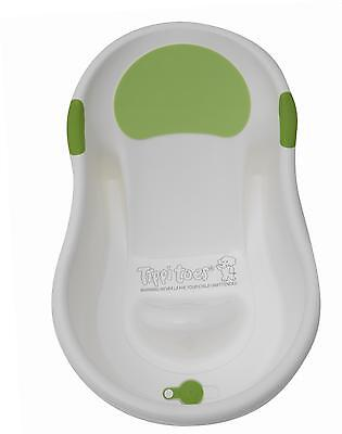 Tippitoes Easy Use Comfort Mini Baby Bath - White/Green From Birth