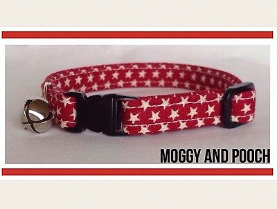 Handmade Red And White Star Cat Collar, Safety Release Buckle, Bell and Charm
