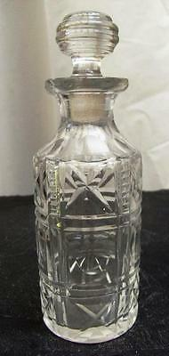 """ANTIQUE/VINTAGE 135mm TALL CYLINDICAL GLASS BOTTLE WITH """"NON-SCREW"""" STOPPER"""