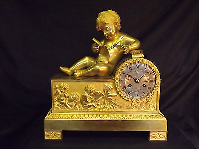 19c French Gilt Bronze Cherub Clock C1880.