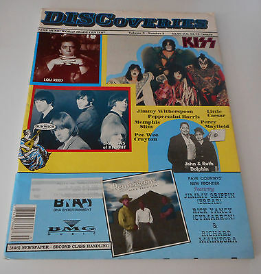 DISCOVERIES Music Mag- March 1992 - Kiss, Lou Reed, Shadows of Knight