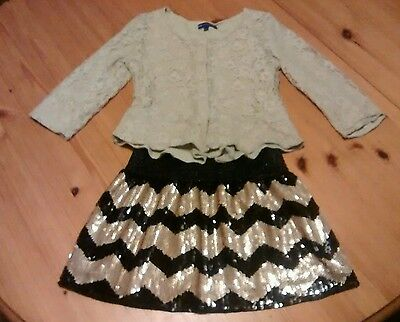 M&S lace top and sequin skirt, black and gold, age 7-8 years
