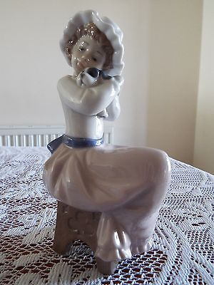 NAO Porcelain Figure 'A Big Hug' Seated Girl With Puppy Dog 1049 Boxed