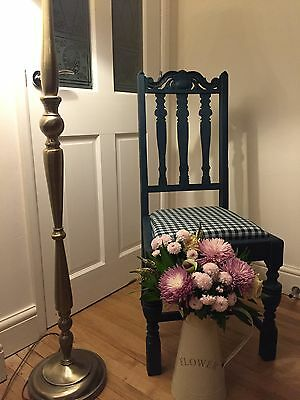 Antique Oak Bedroom Chair Shabby Chic Aubusson Blue Annie Sloan, Kitchen, Dining