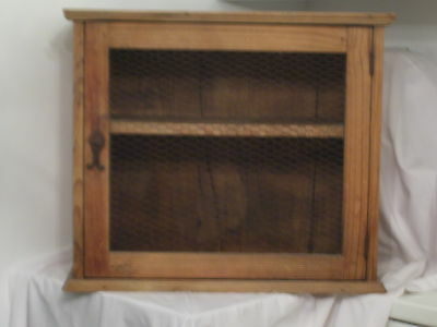 "ANTIQUE PINE MEAT SAFE 25.25W x 12""D x 21.75""TALL SEE MORE"
