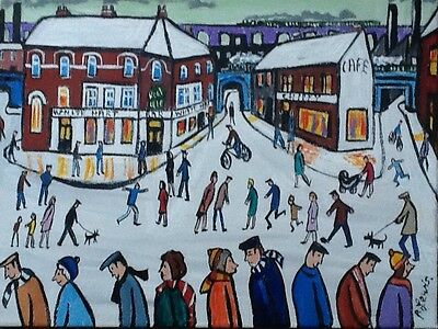 PHIL LEWIS -OUT AND ABOUT IN THE SNOW- pub chippy winter -ORIGINAL NORTHERN ART