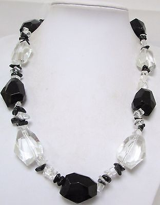 Good vintage large French jet & crystal bead necklace