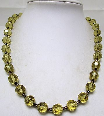 Gorgeous vintage amber glass bead necklace