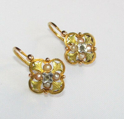 Old antique French 18ct gold diamond & pearl front opening lever back earrings