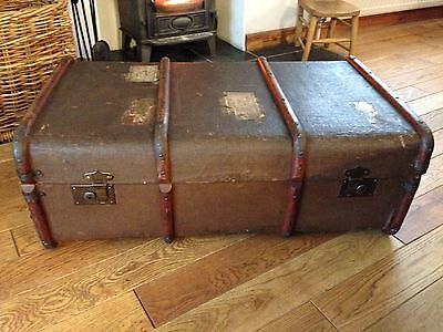 Vintage Steamer Chest Trunk Coffee Table.
