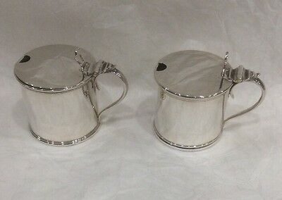 An Excellent Pair Of Solid Sterling Silver Hallmarked Mustard Pots Blue Glass
