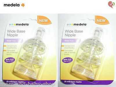 MEDELA BREAST MILK FEEDING STORAGE BOTTLE WIDE BASE NIPPLES SLOW FLOW x6 #87133