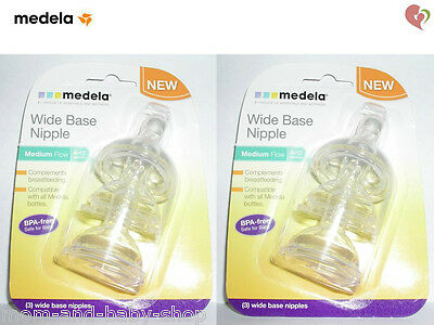 MEDELA BREAST MILK STORAGE FEEDING BOTTLE WIDE BASE NIPPLE MEDIUM FLOW x6 #87134