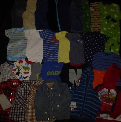 HUGE toddler Baby Boy 18 mths Fall Winter Levi's Carters jeans top clothes lot 4
