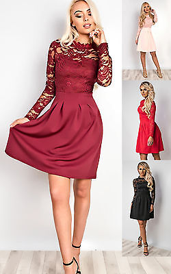 Women's Ladies Stunning Lace Floral Celeb Inspired Party Skater Dress