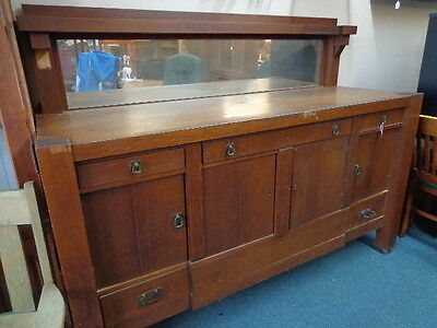 Antique Buffet Sideboard Mission Style Hutch Cabinet Estate Buyout DEL. AVAIL.