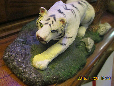 Living Stone White Tiger With Blue Eyes  On The Prowl 1998
