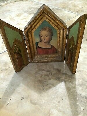 Lady Madonna Gold Wooden Frame Antique and Beautiful