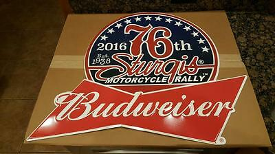 Sturgis BUDWEISER 2016 Motorcycle Rally Tin Metal Sign 76th Anniversary