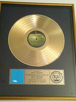 "John Lennon Beatles  Certified Riaa  Gold Lp Record Album Award Gold Disc ""live"""