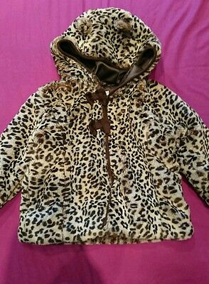 Girls furry leopard Indigo(Debenhams) jacket 1 1/2 - 2 years