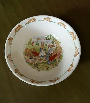 Royal Doulton Bunnykins Cereal Bowl - Picnic, Kite Flying & Butterfly Catching