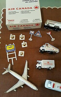 Air Canada Airport Play Set 2003 - 13 Piece Set Including 4 Vehicles Plus Plane