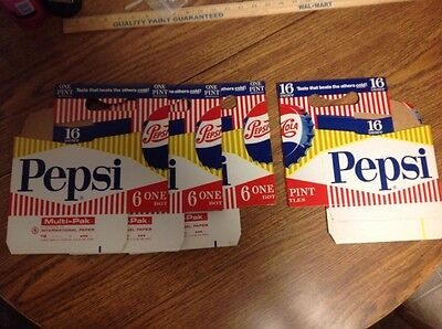 Lot of 4 Original 1950's PEPSI COLA Cardboard Bottle Carrier for 6 16 Oz Bottles