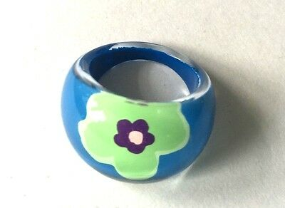 Vintage Blue & Green Reverse Painted Lucite Domed Bubble Ring Size 7.5