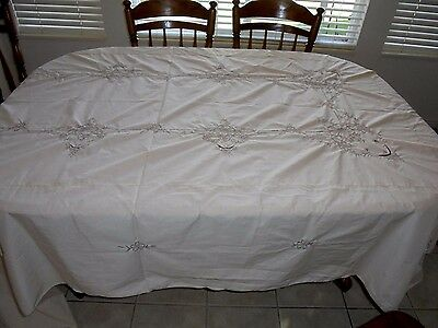 Large Cream with Gray Embroidery Tablecloth and 12 Napkins