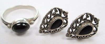 Stunning vintage sterling silver & onyx ring + earrings